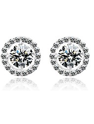 Vermeil And Brass With Cubic Zirconia Round Stud Earrings