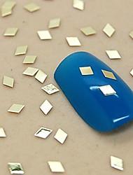 200pcs forma de diamante soild metal dourado arte fatia decoração de unhas
