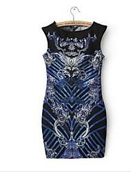 das mulheres em torno do pescoço mini vestido, poliéster / algodão mistura multi-color bodycon / casual / impressão