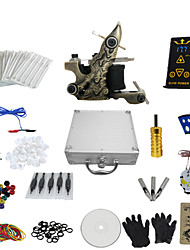 1 Gun Complete No Ink Tattoo Kit with All In One Engraved Tatoo Machine and Ep-2 Power (Contain a Suitcase)