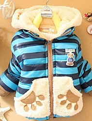 Gils's Stripe Cute Teddy Bear Hooded Jacket