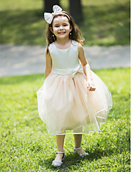 Flower Girl Dress - Mode de bal Longueur genou Sans manches Mousseline polyester