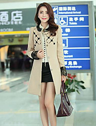 Women's Red/Brown/Beige Trench Coat , Casual Long Sleeve Cotton