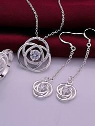 mode hol uit bloem sieraden set (ring + ketting + oorbellen) (1 set)