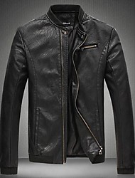 Men's Collar  Leisure Leather Coat