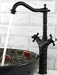 cubierta montada phasat® dos asas con un agujero grifo de la cocina bronce antiguo