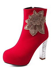 botines zapatos de moda de tacón grueso del ante de las mujeres con la flor más colores disponibles