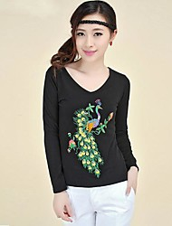 Women's Ethnic Embroidery Long Sleeved T Shirt