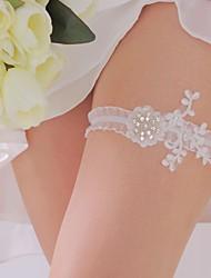 Garter Polyester Flower Rhinestone White