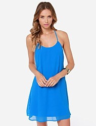 Women's Holiday Dress,Solid Above Knee Sleeveless Blue Polyester Summer