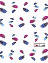4PCS Feather Nail Stickers