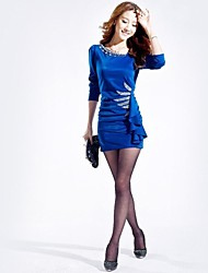 Women's Black/Blue/Red Dress , Vintage Long Sleeve