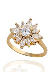 Women's Elegant Big Flower 18K Gold Plated  Zircon Rings