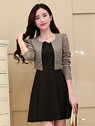 Women's Work A Line / Skater Dress,Color Block Round Neck Above Knee Long Sleeve Black / Gray / Multi-color Cotton / PolyesterSpring /