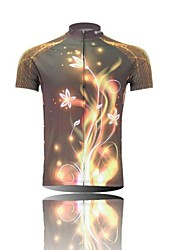 XINTOWN Men 's Flowers Light Breathable Polyester Short Sleeve Cycling Jersey -Gold+Black