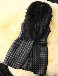 Women's Fashion Raccoon Fur Collar PU Leather Cotton Vest Coat