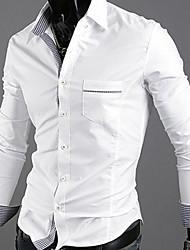 GEZI Men's Simple Long Sleeve Plaid Shirt
