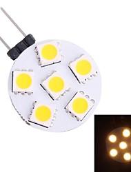 g4 1w 60lm 3500K 6x5050 led bianco caldo lampadina spot (DC 12V)