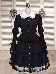 Long Sleeve Short Black Cotton Classic Lolita Dress