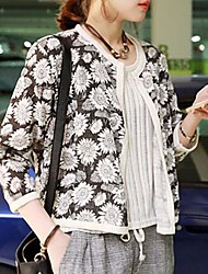 Women's All Match Cardigan Big Flowers and Seven Sleeve Outerwear
