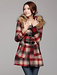 Women's Detachable Collars British Style Sub Wool Woolen Coat Outerwear