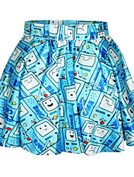 PinkQueen Women's Spandex Blue Cute Video Games Pleated Skirt