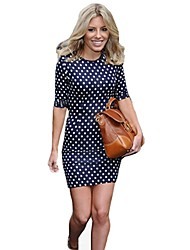Fashion Polka Dot Bodycon Pencil Slimming Party Pencil Dress Summer Tunic Style Mini Casual Dresses