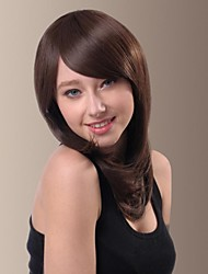 Capless Matched Face Medium Length Side Bangs Hair Wigs
