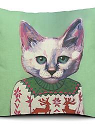 dessin animé de coton de chat / lin taie d'oreiller décoratif