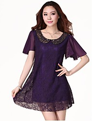 Lace Hollow Out Chiffon Dress