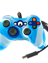 Wired Dual Shock Controller with Silicone Skin Cover for Xbox 360