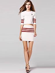 Women's New Fashion Stripe Knitwear Suit(skirt&shirt)