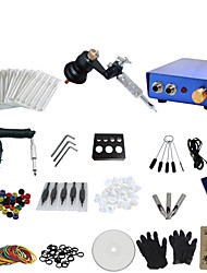 1 Gun Complete No Ink Tattoo Kit with Black Motor Machine and Blue Aluminium Alloy Power Supply
