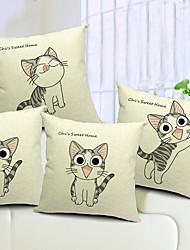 jeu de 4 chats adorables coton / lin taie d'oreiller décoratif