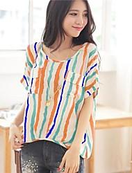 Women's Loose Stripe Bat Sleeve T Shirt