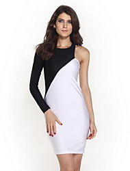 Women's Hot Girl One Shoulder  Party Midi Bodycon Dress