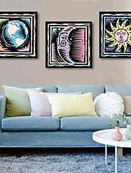 Cartoon Planet Framed Canvas Print Set of  3