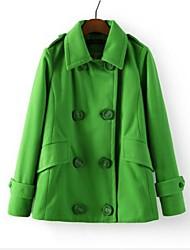 Women's Double-Breasted Sweet Emerald Woolen Coat