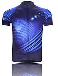 XINTOWN Men 's Dream Breathable Polyester Short Sleeve Cycling Jersey—Blue+Black