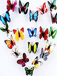 100pcs 3D sete centímetros l borboletas coloridas artificiais casa weddding decorações do partido com ímã (de várias cores)