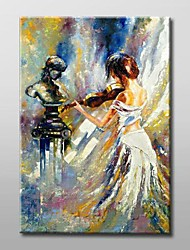 Hand Painted The Girl play the Violin Impression Oil Painting with Stretched Frame Ready to Hang