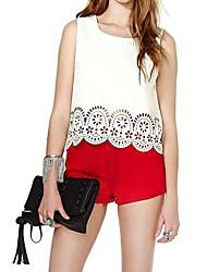 Women's Chiffon Blouse Tank Foral Hollow Hem T-Shirt
