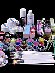 61pcs Glitter UV Gel Reiniger Primer Nail-Art-Kit-Set