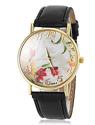 женская цветок шаблон набора золото кейс оправа PU Группа кварцевые наручные часы (разных цветов)