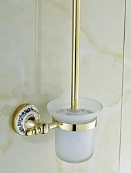 brass cerâmica dourada ti-pvd titular escova de vaso sanitário