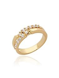 Women's Fashion Simple Design 18K Gold Zircon Wedding Ring
