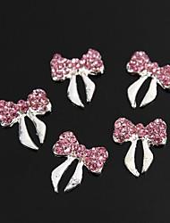 10pcs brilho rosa de cristal rhinestone bowknot liga 3d arte decoração de unhas