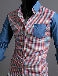 ITT Men's Check Denim Contrast Color Shirt