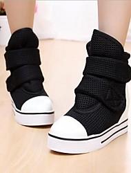 Canvas Women's Splicing Mesh Platform Heel Round Toe Sneakers Shoes(More Colors)