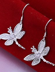 Vivid Women's Dragonfly Silver Plate Earrings